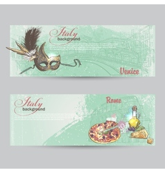 Set of horizontal banners of Italy Cities of Rome vector