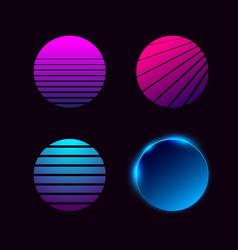 set retrowave synthwave vaporwave style suns vector image
