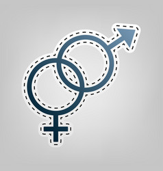 sex symbol sign blue icon with outline vector image
