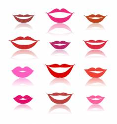 Smiles lips icons on white vector