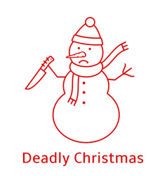 Snowman with knife deadly christmas vector