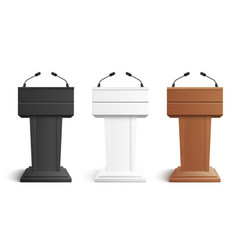 stage stand or debate podium rostrum with vector image