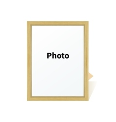 Standing wooden blank clean frame photo on a stand vector image