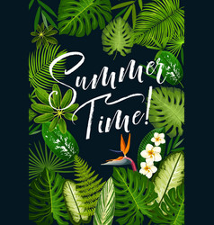 Summer holidays banner of tropical palm and flower vector