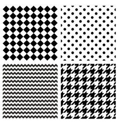 Tile black and white pattern set vector