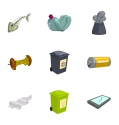 Trash and garbage icons set cartoon style vector image