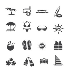 travel vacation icons set vector image vector image