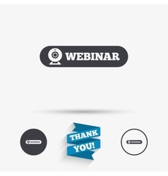 Webinar web camera sign icon Online Web study vector image