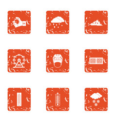 Winter bad weather icons set grunge style vector