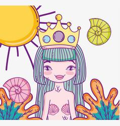 Woman mermaid wearing crown and tropical plants vector