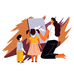 woman teaching kids to draw art school lesson vector image
