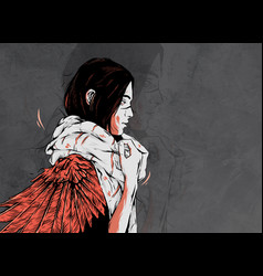 Woman with bird vector