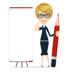 Woman writing on copy space with pencil vector