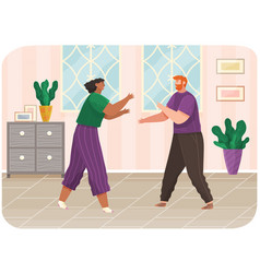 Young couple quarreling at home man and woman vector