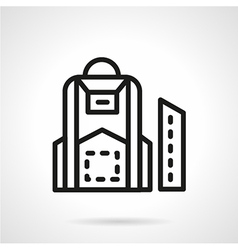 Black line school backpack icon vector image