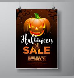 hallowen sale with pumpkin on black sky vector image