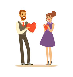 happy elegant couple in love giving red hearts to vector image