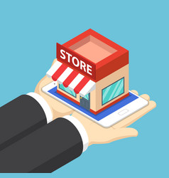 isometric businessman hands holding tablet with vector image vector image