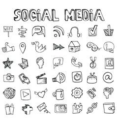 Social Media Icons setDoodle sketchy elements vector image