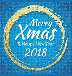 2018 gold and blue card with merry christmas text vector image vector image