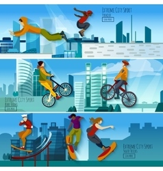 Extreme City Sport Flat Banners Set vector image