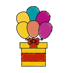 giftbox present with ballons air isolated icon vector image