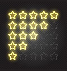 glowing yellow neon lights 5 stars rating vector image