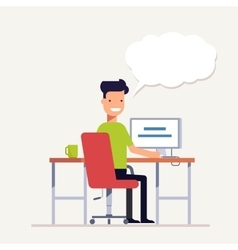 Man working at a computer and that says something vector image