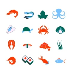 Seafood icons set vector image