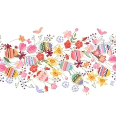 Seamless easter pattern brush with flowers and vector image vector image