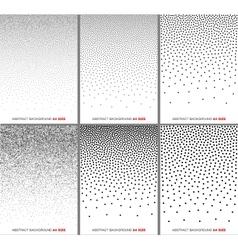 Set of black gradient halftone dots backgrounds vector