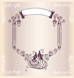 vintage wedding frame with bird vector image