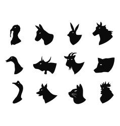 Farm animals icons set vector image vector image