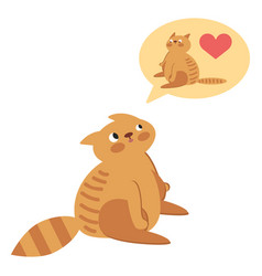 a cute kitten thinking of his sweetheart vector image