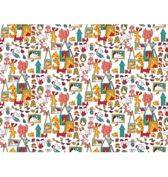 Art hand made objects toys color seamless pattern vector image vector image