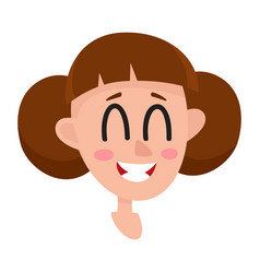 Pretty brown hair woman laughing facial vector