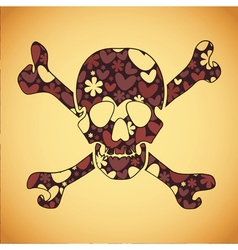 skull with colorful flowers and hearts vector image vector image