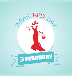 3 february wear red day vector image