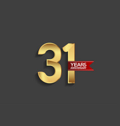 31 years anniversary simple design with golden vector