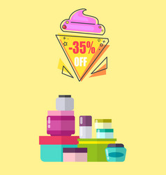 35 off for creams and lotions promotional poster vector image