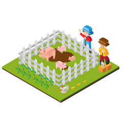 3d design for farmers and pigs in farm vector image