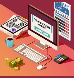 Accounting and taxes isometric composition vector