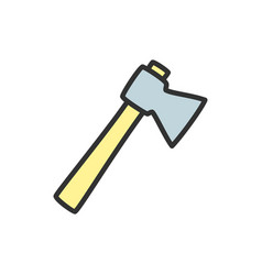 axe flat color line icon isolated on white vector image