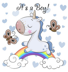 baby shower greeting card with cute unicorn boy vector image
