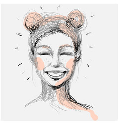 Beautiful woman face laughing hand drawn vector
