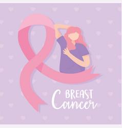 breast cancer awareness pink ribbon woman self vector image