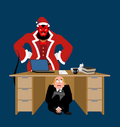 Businessman scared under table of krampus vector