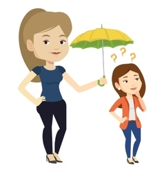 Businesswoman holding umbrella over young woman vector