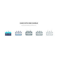 Cake with one candle icon in different style two vector