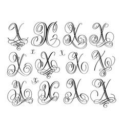 Calligraphy lettering script font x set hand vector